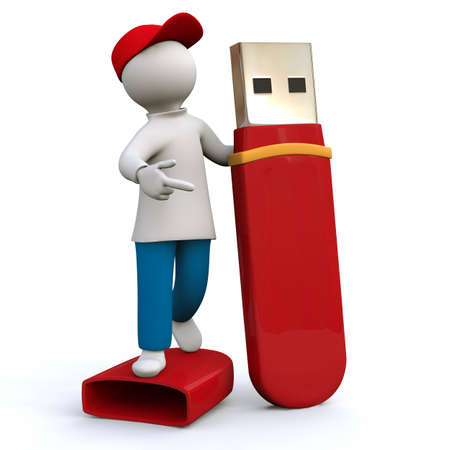 Illustration, man holding memory-stick illustration