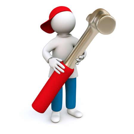 roofer: 3D Illustration, man holding hammer Stock Photo