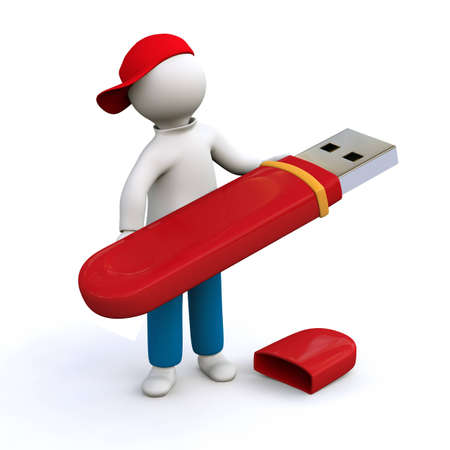 computer memory: 3D Illustration, man holding red memory stick