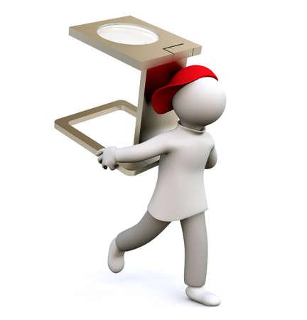 tester: 3D Illustration, man holding linen tester Stock Photo