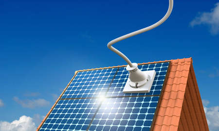 solar panel roof: 3D Illustration, solar power