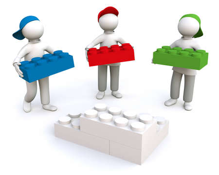 setup man: 3D Illustration, men building together with building bricks Stock Photo