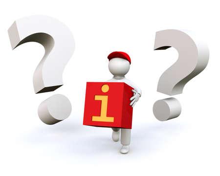 3D Illustration, man holding information symbol Stock Illustration - 12843385