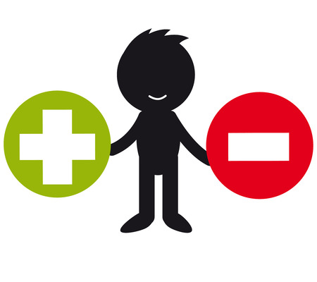 minus: Infographic people - with plus minus symbol Stock Photo