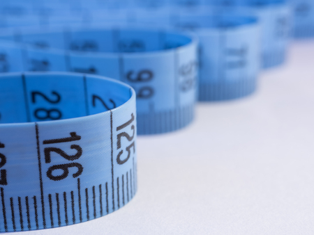 Isolated blue measuring tape Stock Photo