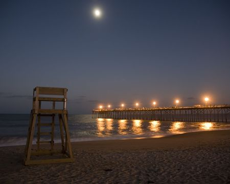moon chair: Moon over beach