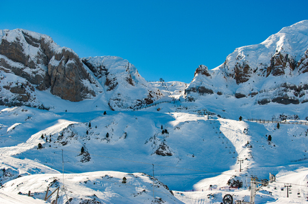 The winter view on ski resort Candanchu, Spain covered by snow in the Pyrenees montains.