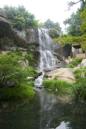 日本庭園の滝 写真素材