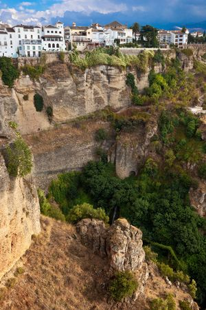 ronda: A town of Ronda, Spain, is situated on the edge of the cliff Stock Photo