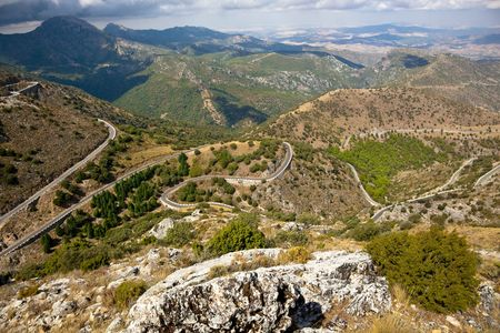 meandering: Meandering trail running along the mountain hills of Andalusia
