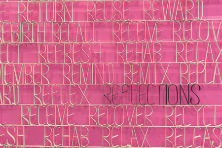 re design: Reflection text on a pink background with prefix RE words