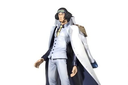 admiral: Bangkok, Thailand - November 13, 2015 : PVC figure portrait of Aokiji Kuzan, also known as 1 of the 3 admiral of marine navy in anime and manga, One Piece.
