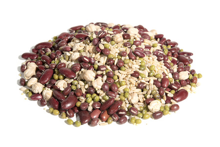 organic plants: Organic 8 grain-beans dessert on white background  - Organic Adzuki, Organic Red Kidney Beans, Organic Chickpeas, Organic Brown Rice, Organic Raw Oat Groat, Organic Millet, Organic Mung Beans, Barley.