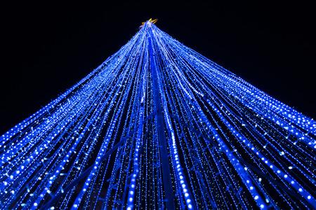 led lighting: Blue led lighting effect as christmas tree Stock Photo