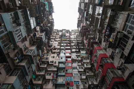 overcrowded: Fok Cheong Building - a residential building in Hong Kong