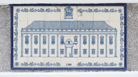 Art drawing on ceramic wall inside of Civic and Municipal Affairs Bureau (IACM) - Leal Senado in 1789 A.D. Imagens
