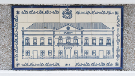municipal: Art drawing on ceramic wall inside of Civic and Municipal Affairs Bureau (IACM) - Leal Senado in 1888 A.D.