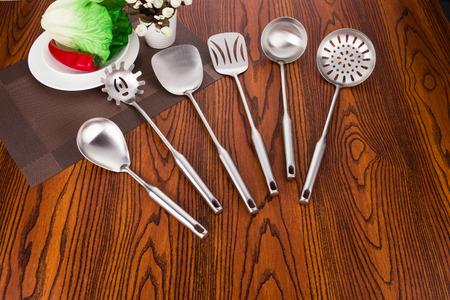 Stainless steel kitchen utensils Stock Photo