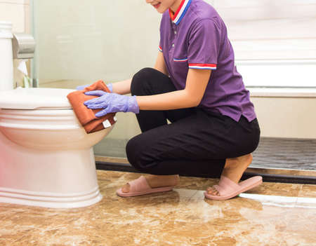 Well-equipped female cleaners come to do housekeeping services