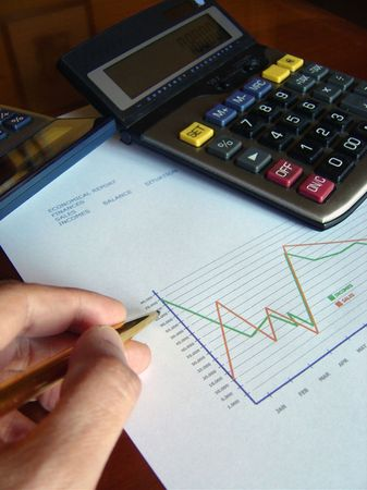 financial balance printed and a calculator