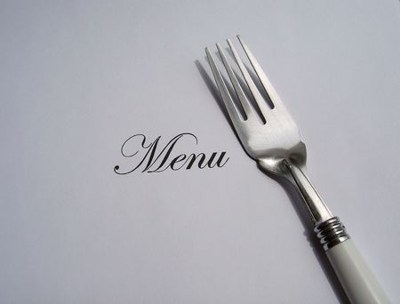 Close up view of the word Menu written and a fork all on a white background with free space to write what you want Stock Photo - 5185009