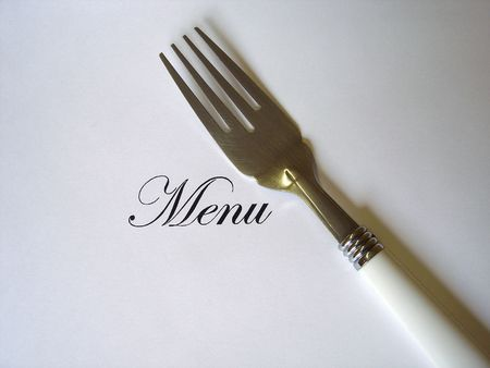 Close up view of the word Menu written and a fork all on a white background with free space to write what you want Stock Photo - 5185007