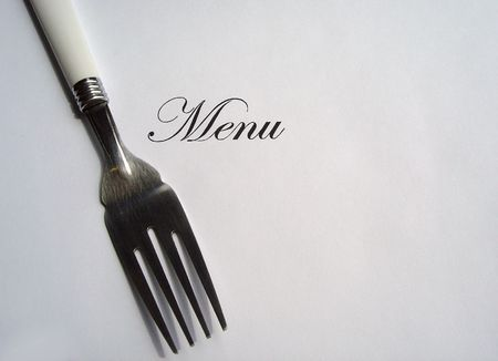 Close up view of the word Menu written and a fork all on a white background with free space to write what you want Stock Photo - 5185005