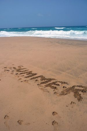 close up view of the text summer written on the sand of a beach and the ocean to the top Stock Photo - 5571062