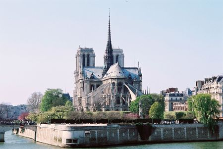 diurnal view of notre-dame cathedral - paris france Stock Photo