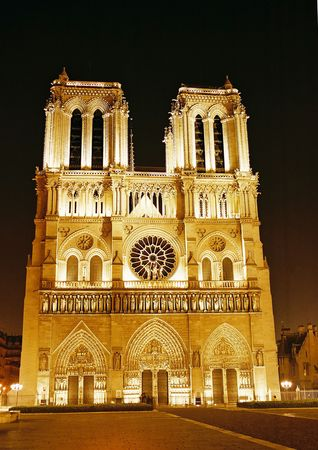 notre: night view of notre-dame cathedral - paris france