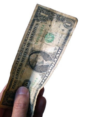 buy one: One dollar bill held by a hand