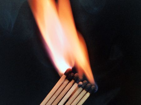 fire of matches on a black background Stock Photo - 6462158