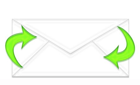 postoffice: envelope and two green arrows