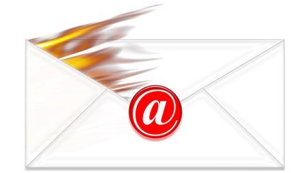 e-mail envelope on fire Stock Photo