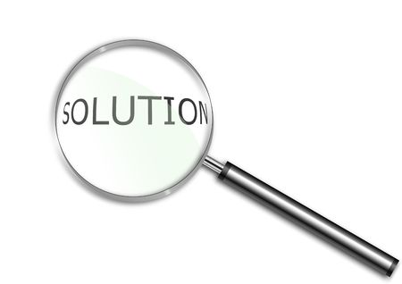 Magnifying glass over the word Solution photo