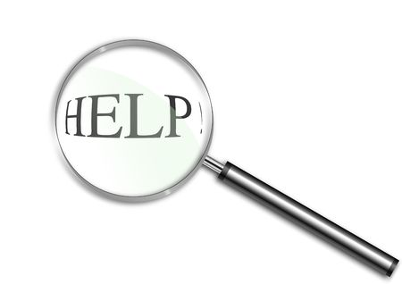 Magnifying glass over the word Help Stock Photo - 6688467