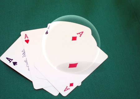 Crystal ball over poker cards photo
