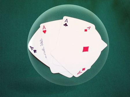 Aces poker in a glass ball photo