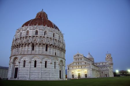Baptistry, catedrla, and sloping tower photo