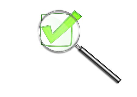 logo informatique: Archiver et agrandissement de verre.