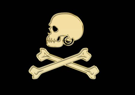 pirate Flag in gold Stock Photo
