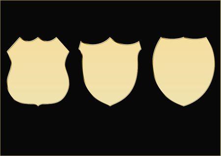 Gold shields Stock Photo