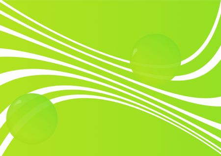 Abstract green background with spheres and waves photo