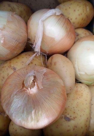 semibreve:  Onions and potatoes Stock Photo