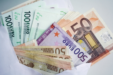 1 euro: Euros background Stock Photo