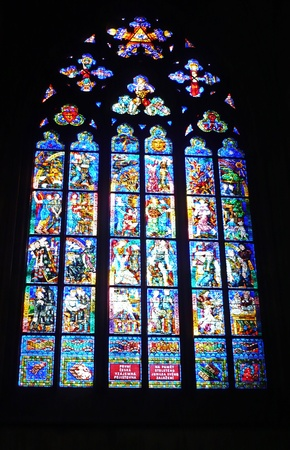 sain: Stained window in Sain Vitus Cathedral, Prague