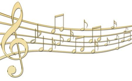 pentagramma musicale: Musica d'oro Archivio Fotografico