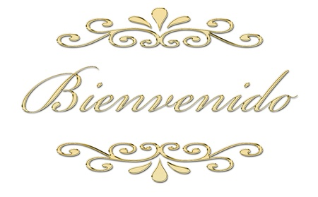 Bienvenido written in gold letters photo