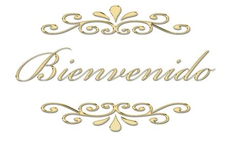 bienvenido: Bienvenido written in gold letters
