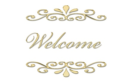 lyrics: welcome written in gold letters